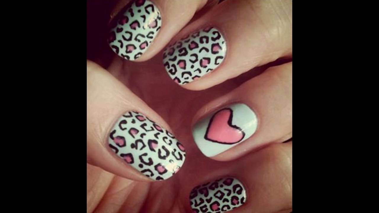 Uñas decoradas con corazones y animal print - YouTube