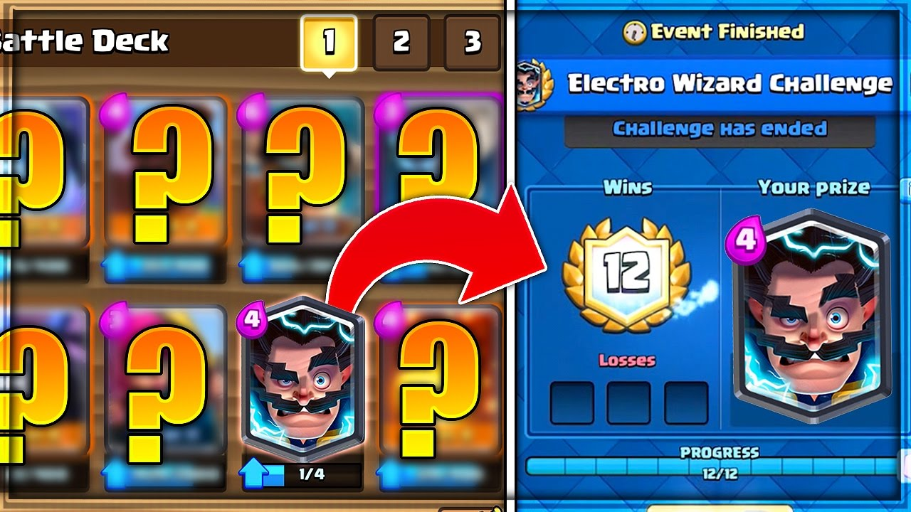 best 12 win electro wizard challenge deck in clash royale youtube