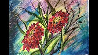Paint Red Daisy Flowers with Oil Pastels | Easy Painting Series for Kids