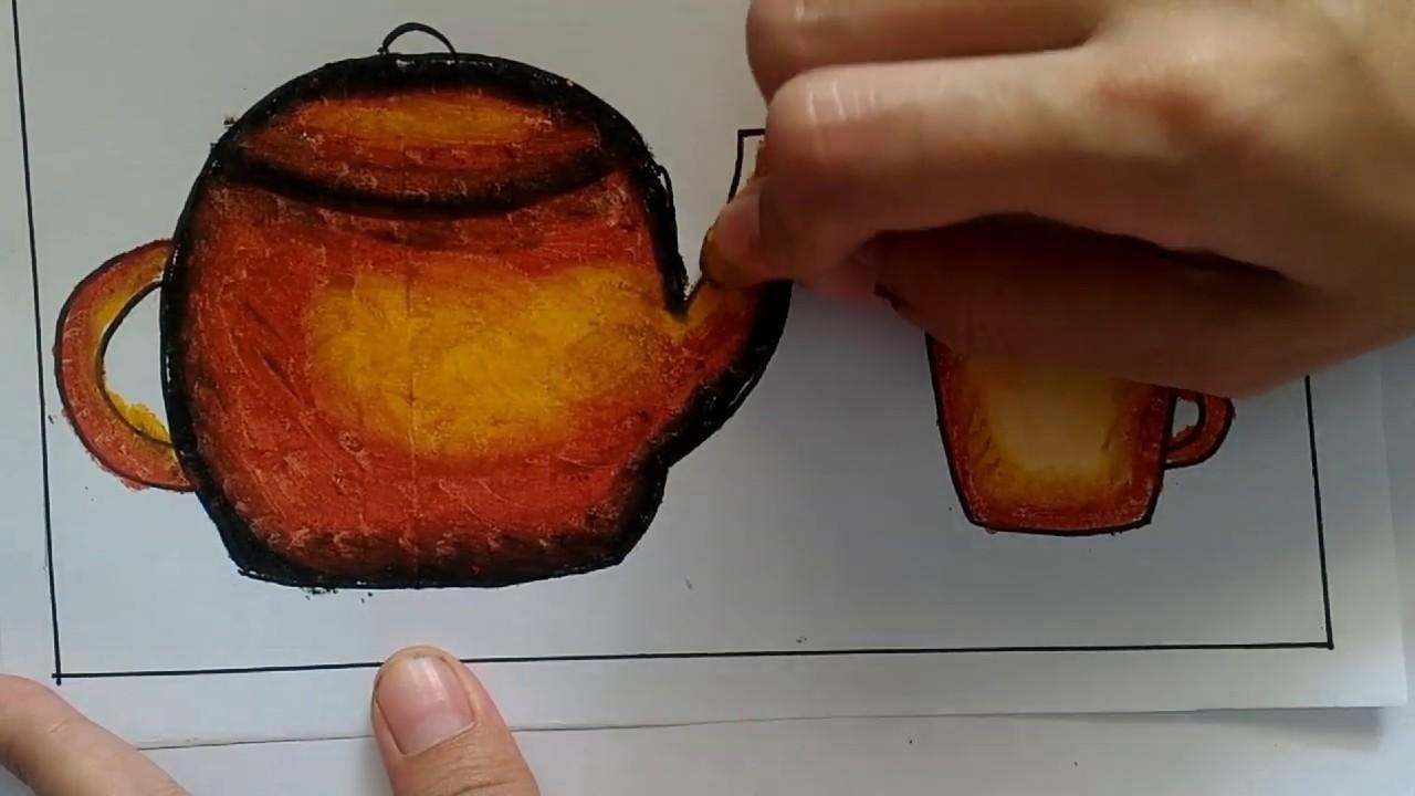 Mewarnai Gradasi Teko Dan Cangkir Coloring Using Crayon