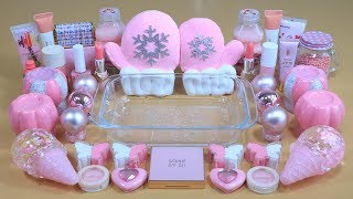 """""""Brigth Pink"""" Mixing'pink' Eyeshadow,Makeup and glitter Into Slime. Satisfying Slime Video.★ASMR★"""
