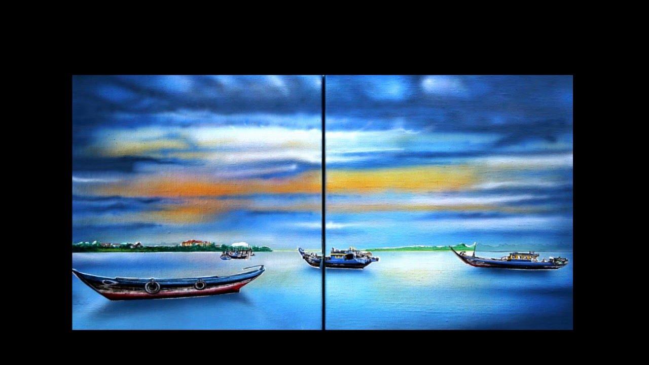 En haut Peindre un paysage de mer et bateaux - Paint a boats and seascape &AZ_91