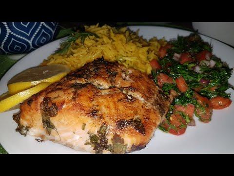 filet-de-saumon-simple-et-facile-au-four.riz-et-salade-santé.-تتبلتي-لسمك-السلمون-ارز-سلطة-صحية