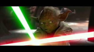 Yoda vs Dooku, but every time their lightsabers clash, General Grievous dies