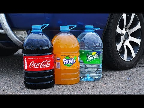 EXPERIMENT: CAR VS BIG COCA COLA, FANTA, SPRITE