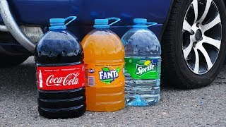 experiment Car vs Big Coca Cola, Fanta, Mirinda