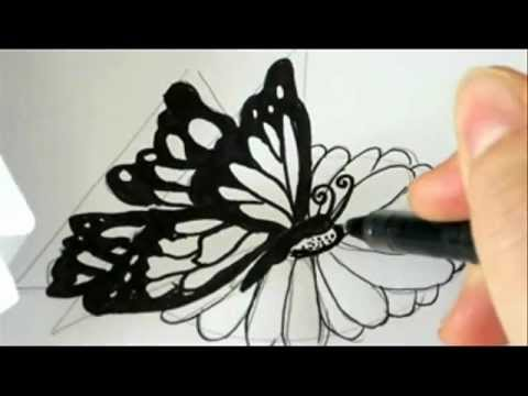 how-to-draw-a-butterfly-landing-on-a-flower-!
