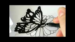 How To Draw A Butterfly Landing On A Flower !