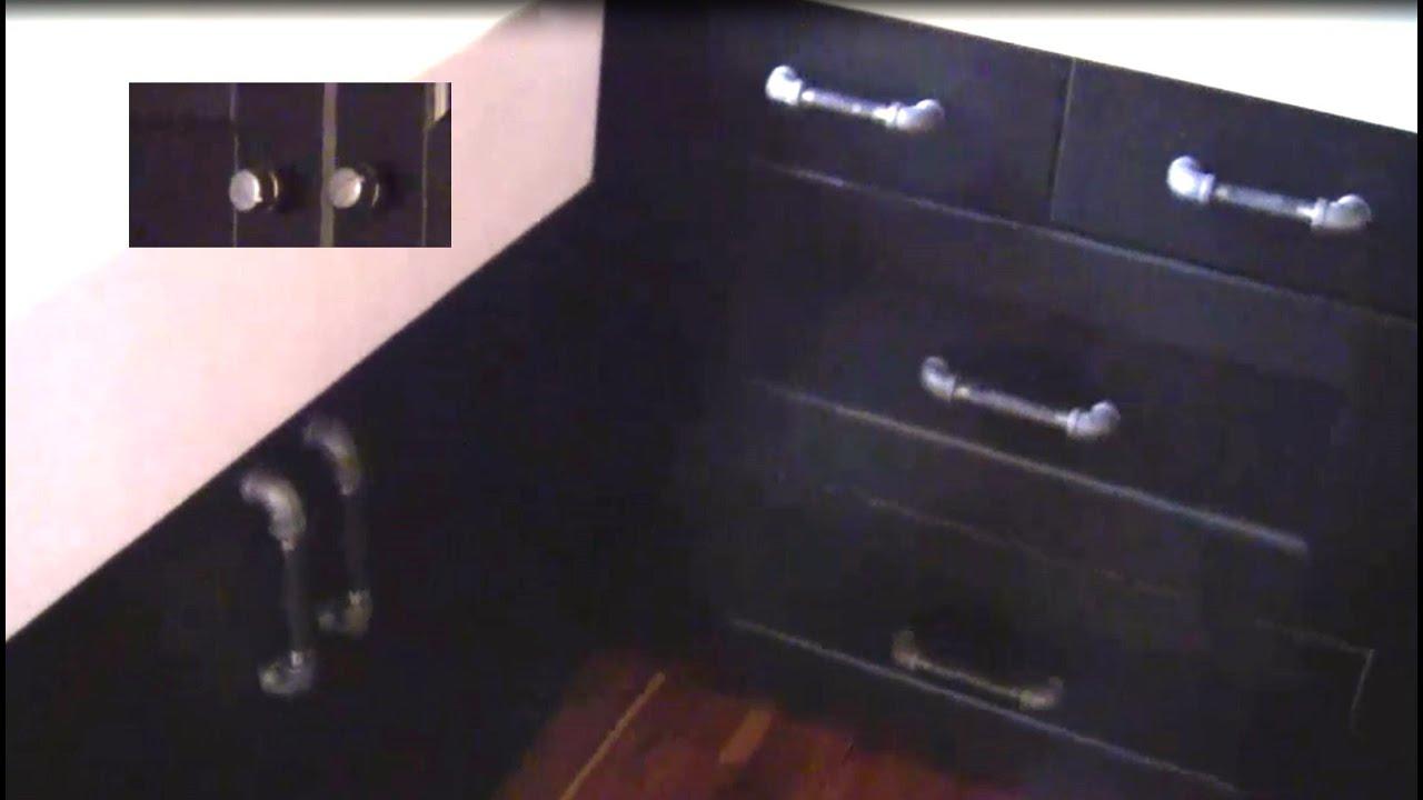 IndustrialRustic Kitchen Redo DIY Black Pipe DoorDrawer