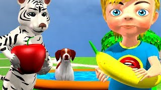 Learn Colors Learn Animals and Fruits with Swimming in Indoor Playground Children Rhymes