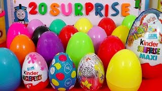 20 Surprise Eggs Kinder Surprise MAXI Mickey Mouse Frozen Peppa Pig
