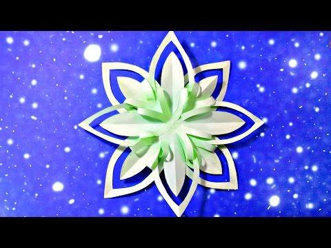 Modular 3d Origami Snowflake Frozen Easy Star Paper Tutorial Christmas Diy Paper Snowfla