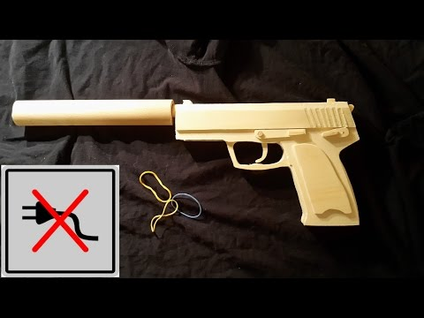 How to make EASY!! USP-S [Rubberband gun] without powertools!- Free templates