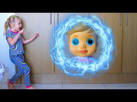 Настя, Кукла и волшебный телепорт Видео для детей Baby doll and Nastya teleported in magic cupboard