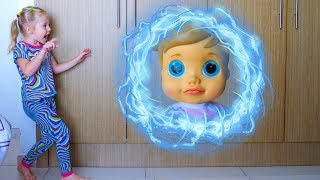Настя, Лялька і чарівний телепорт Відео для дітей Baby doll and Nastya teleported in magic cupboard