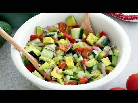 How to Make Cucumber Tomato Avocado Salad with Sesame Vinaigrette Dressing
