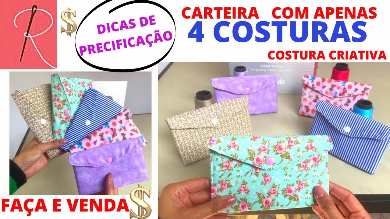 CARTEIRA COM DIVISÓRIAS FEITA COM 4 COSTURAS - COM DICAS DE PRECIFICAÇÃO