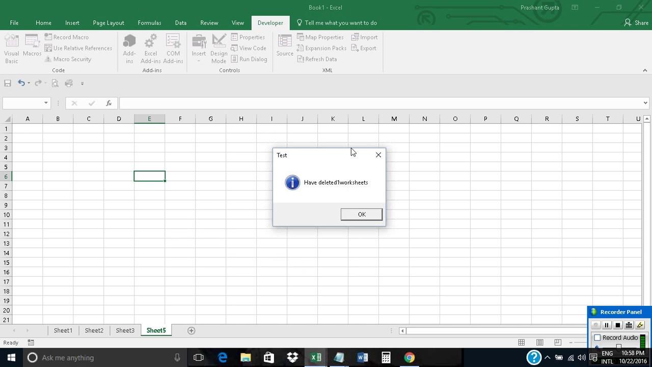 Delete worksheet based on cell value in Excel using VBA - YouTube
