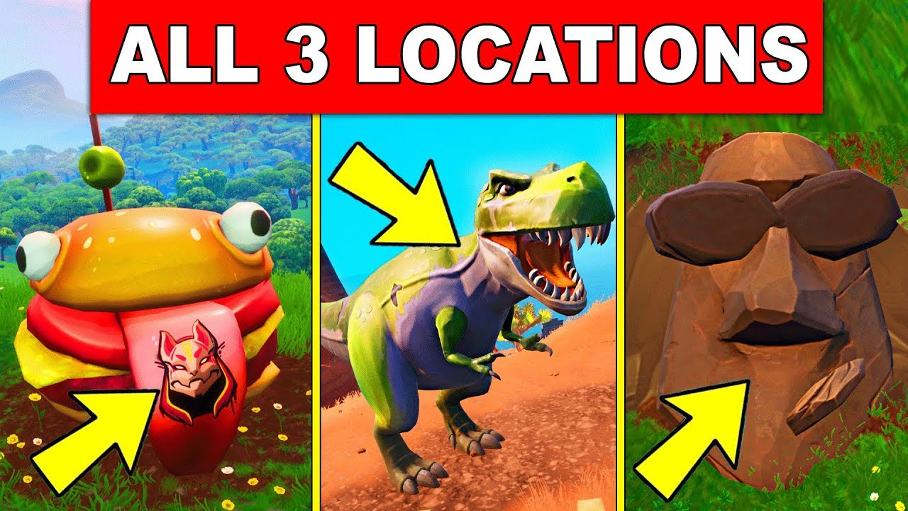 Visit Drift Painted Durrr Burger Head, a Dinosaur and a Stone Head Statue - ALL 3 LOCATIONS Fortnite #1