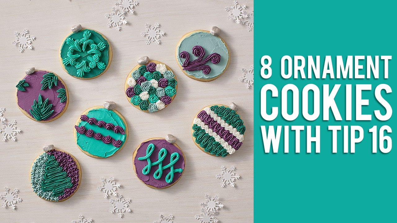 How to Decorate 8 Ornament Cookies with Tip 16   YouTube