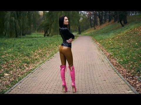 Brown Latex Leggings & Pink tajnaclub Platform Knee High Heels – amphibology777