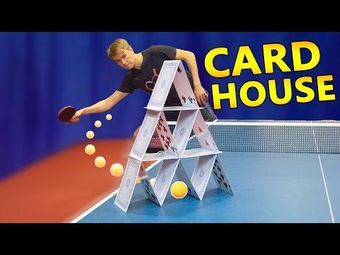Ping Pong Shot through a Card House