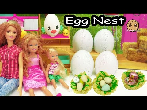 Thumbnail: Cooking Fun - Chocolate Shopkins Eggs In Rice Krispy Marshmallow Treat Bird Nest with Barbie