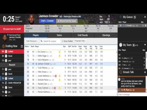 2017 Yahoo Fantasy Football Mock Draft. [HD]