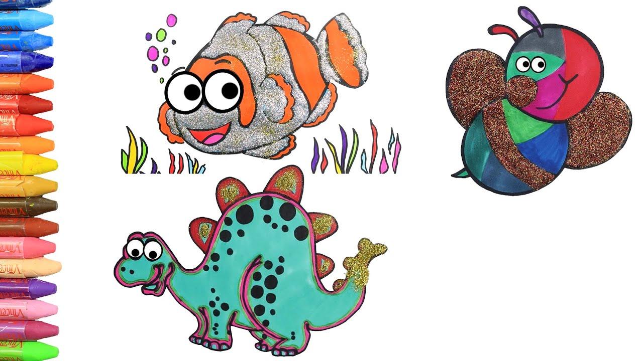 Как нарисовать динозавр - пчелка - рыбы с MiMi 😺 | Раскраски детей HD | Рисование и окраска 🎨