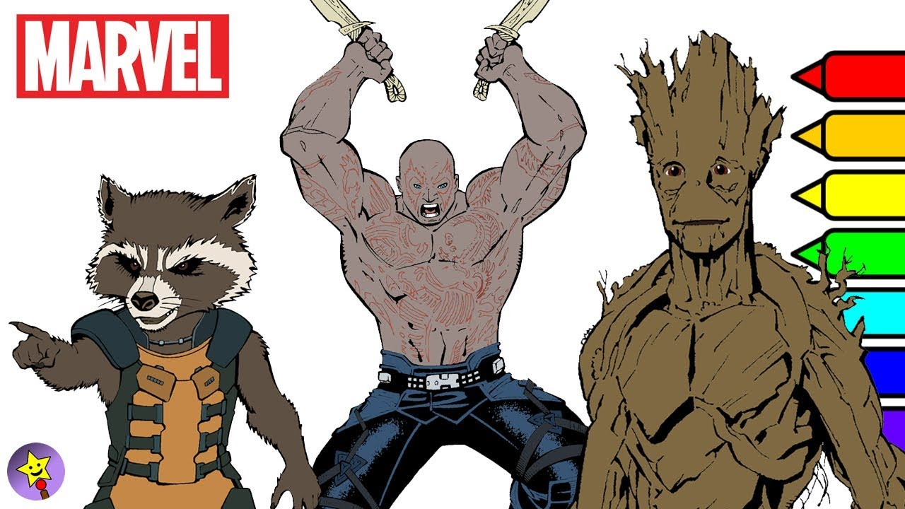 Marvel Guardians of the Galaxy Coloring Book Rocket Raccoon Groot ...