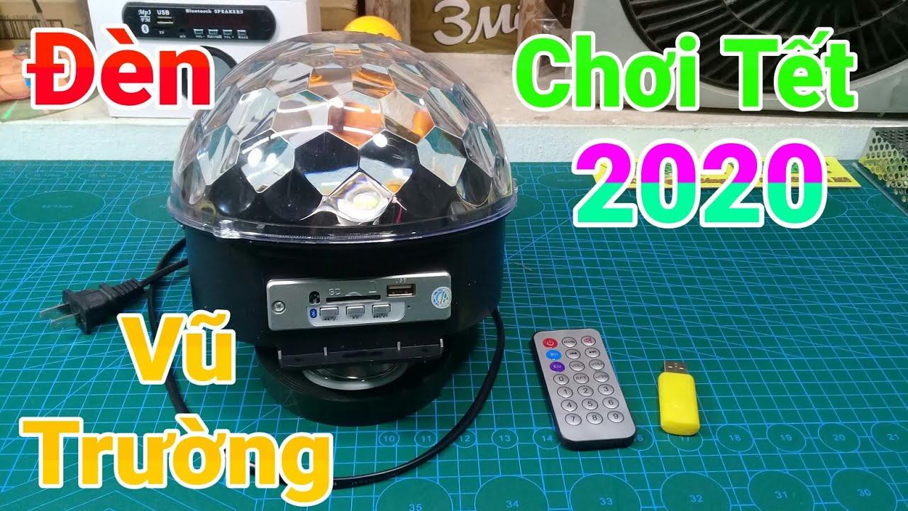 Mở hộp đèn cầu nháy theo nhạc tích hợp loa Bluetooth chơi tết 2020 mua trên Banlinhkien.vn