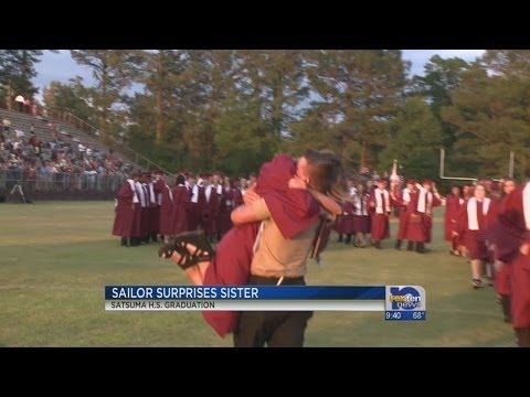 Sailor surprises sister at graduation