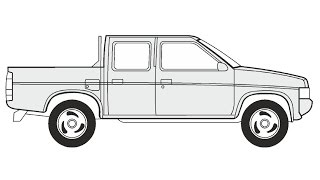 How to Draw a Nissan Pickup Double Cab / Как нарисовать Nissan Pickup Double Cab