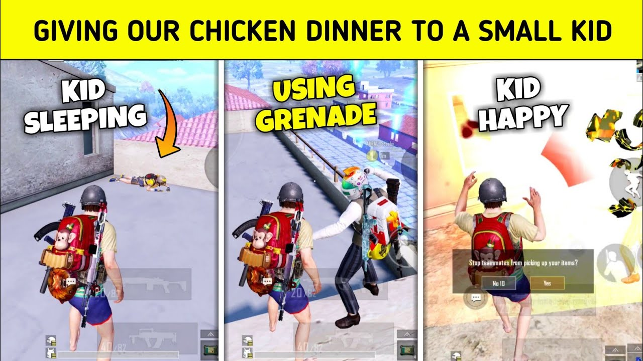 ? This little kid fell asleep while camping - Giving chicken to him - PUBG MOBILE HINDI GAMEPLAY