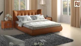 Contemporary Orange Tufted Leatherette Bed Vgsbn-5810 From Vig Furniture