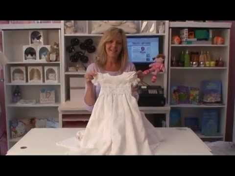 e74564f12 Girls Christening Gown Vintage Silk & Lace Christine - YouTube