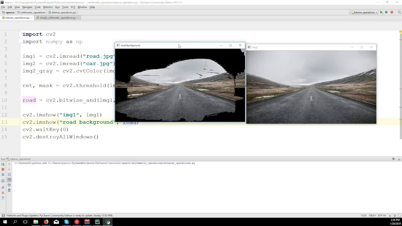 Blending images - OpenCV 3 4 with python 3 Tutorial 6