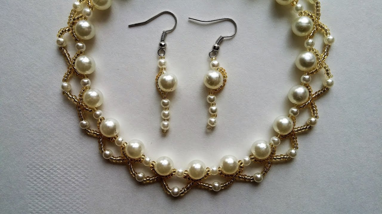 Wedding jewelry making.Pearls and seed beads necklace and earrings ...