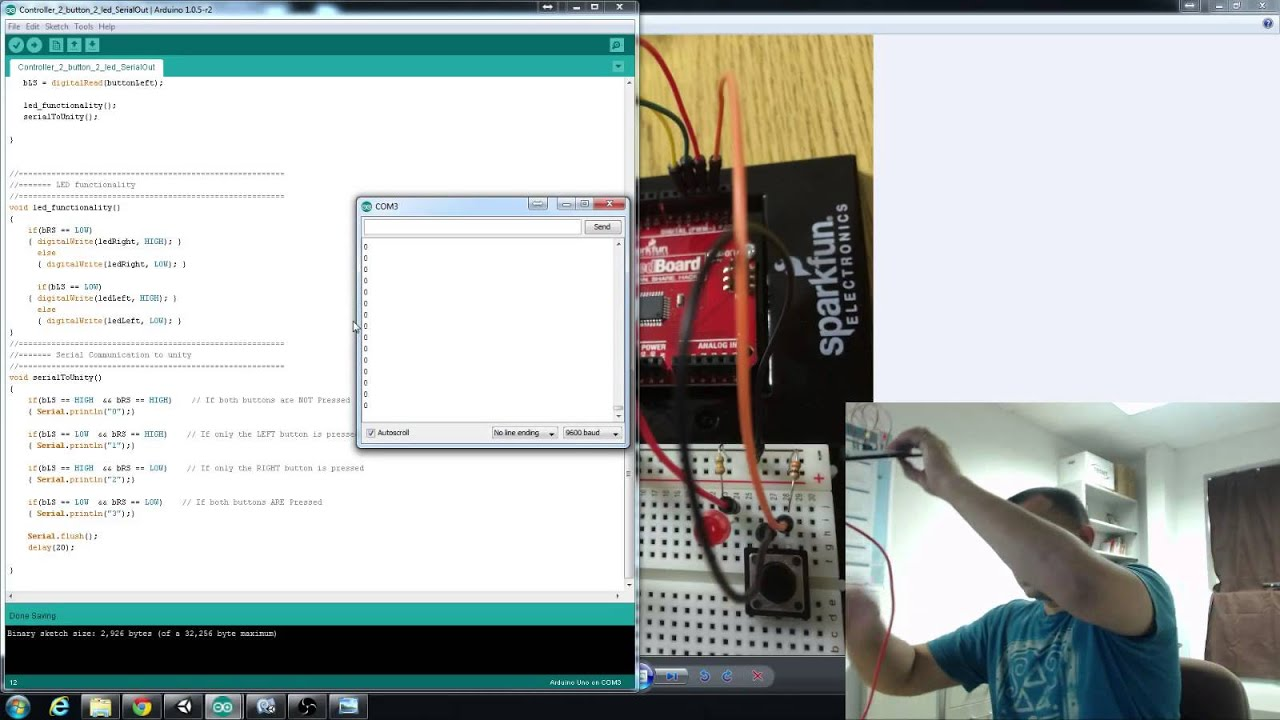 Arduino to unity tutorial buttons leds and serial