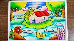 Mewarnai Gradasi Dengan Crayon Oilpastel Pemandangan Indah