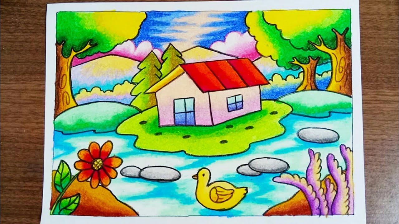 Menggambar Pemandangan alam Rumah & danau dengan gradasi crayon | Drawing Scenery of house and lake #1