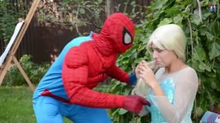 explosive balloon spiderman vs joker w spider man frozen elsa princess in real life