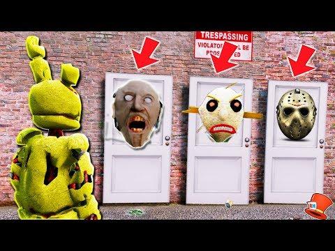 WHICH HORROR DOOR WILL SPRINGTRAP CHOOSE? (GTA 5 Mods For Kids FNAF RedHatter)