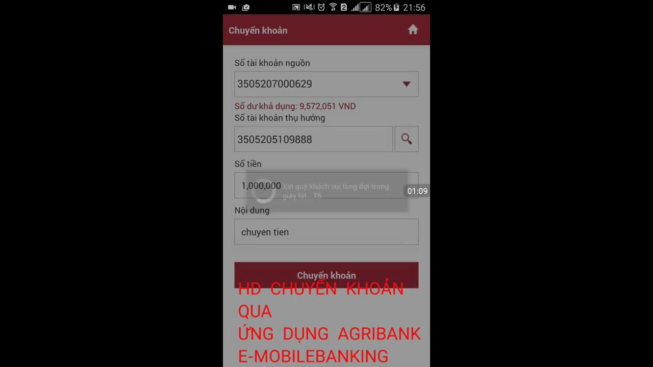 Chuyển khoản qua agribank e mobilebanking