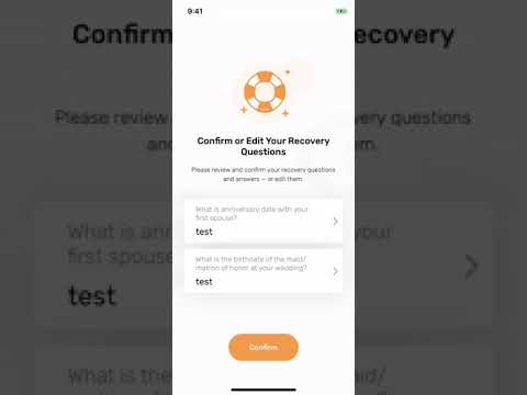 Setting up password recovery in the USDX Wallet app