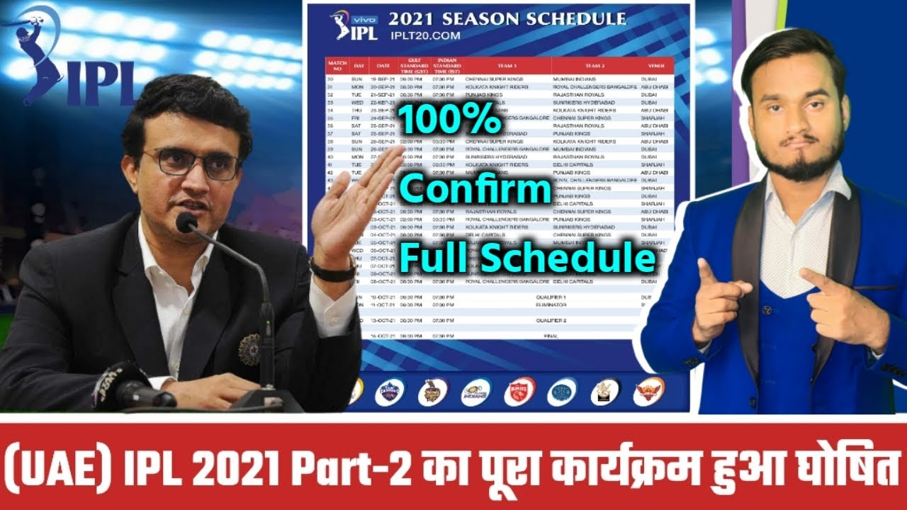 BCCI Announced IPL 2021 UAE Full 100% Confirm Schedule | IPL 2021 Part-2 Date,Time,Venue, All Match