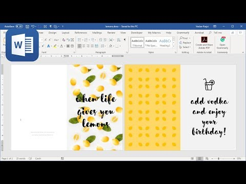 How To Create Happy Birthday Card In Microsoft Word (Tutorial - When Life Gives You Lemons)