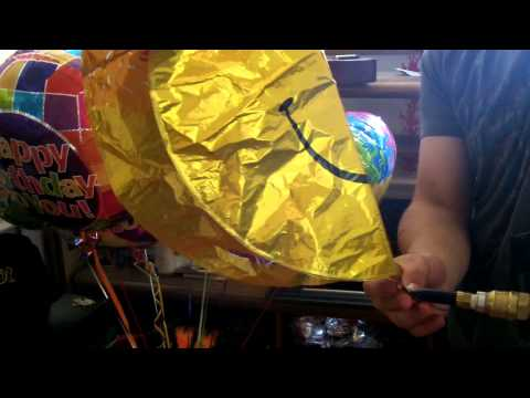 birthday Mylar balloon helium inflation