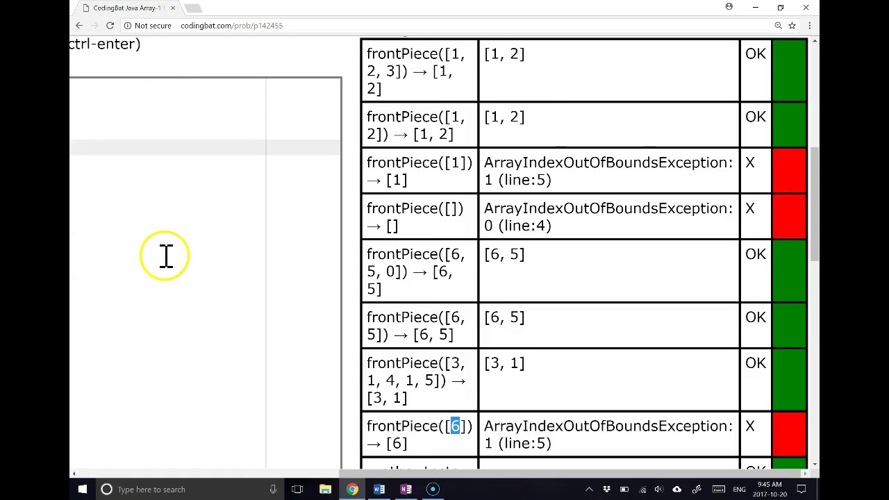 Coding Bat Solutions - Arrays 1 - frontPiece
