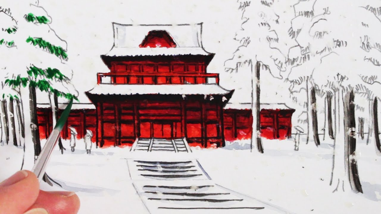 How To Draw A Japanese Temple Building In The Snow